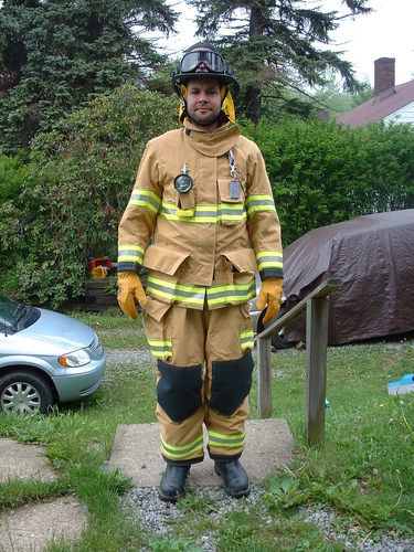 Jon in a firesuit